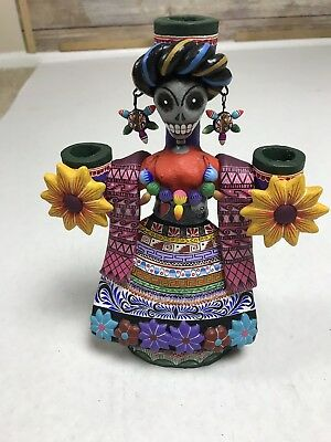 Day Of The Dead Candle Holder Skeleton Flower Novica