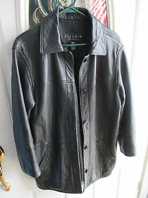 LEATHER ELEMENTS Black Leather Coat Ladies Small -  Not sure If Ever Worn