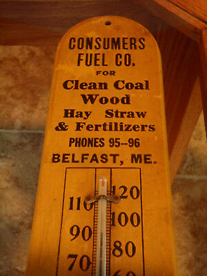 Antique Advertising Thermometer Cosumers Fuel Coal Belfast Me. Wood