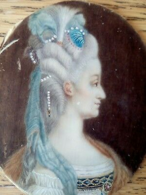 Period 18thc georgian portrait miniature, lady with ringlets, brass ribbon frame