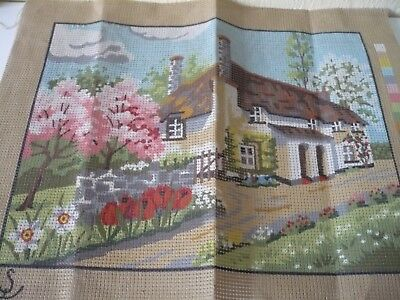 Printed Tapestry Canvas = Thatched Cottage - 30.5 x 23 cm