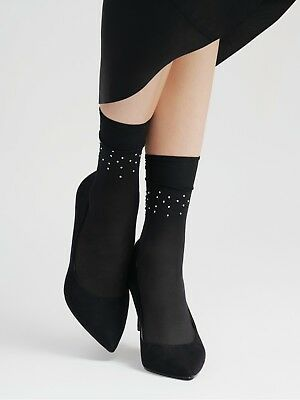 FiORE Circus Ankle High Pop Socks 15 Denier Sparkly Diamante Studded poudre only