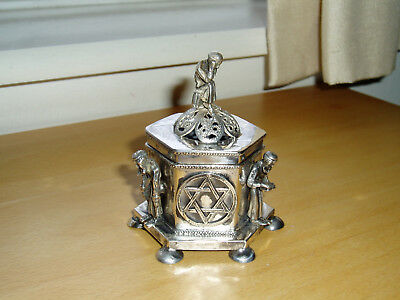 Antique 1873 Russian 84 Sterling Silver Hexagonal Judaica Jewish Spice Box & Lid