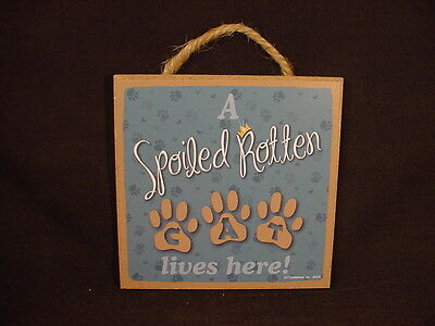 A Spoiled Rotten CAT Lives Here WOOD SIGN Easel Stand Wall PLAQUE Kitty paws USA