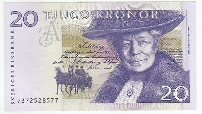 Sweden 20 Kronor 1991 Issue Banknote Pick: 61a In UNC..