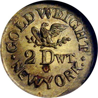 New York City Civil War Token Gruber Gold Weight Apothecary Druggist Scales NGC