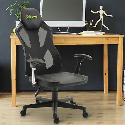 Vinsetto High Back Gaming Chair Racing Style PU Leather Mesh Ergonomic Swivel