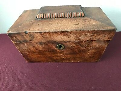 Early Victorian Sarcophagus Shaped Tea Caddy With Compartments For Two Teas