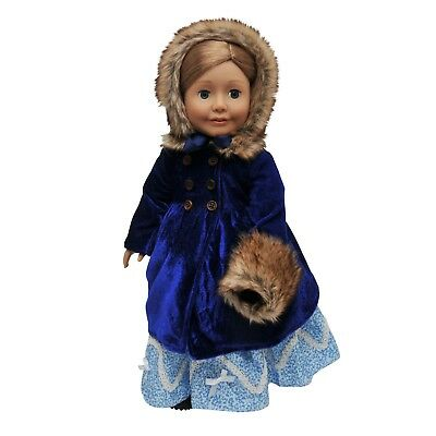 18 In Doll Clothes Outfit, Blue Velvet 1800's Coat, Hat, Muff Fit American Girl