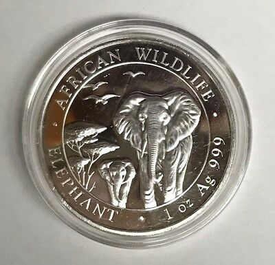 2015 Somali Elephant 100 Shillings Coin 1oz .999 Ag Silver in Air-Tite Capsule