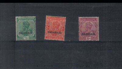 Bahrain George V 1933-37 1/2a, 2a and 8a mounted mint
