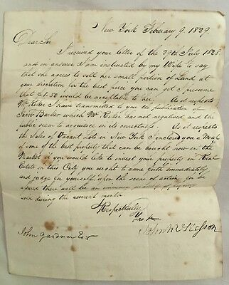 1829 Handwritten SFL New York Vacant Lots For Sale McKesson, Jacob Barker, Riker