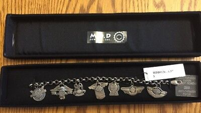 RARE HARLEY DAVIDSON 100TH ANNIVERSARY STERLING SILVER CHARM BRACELET by MOD