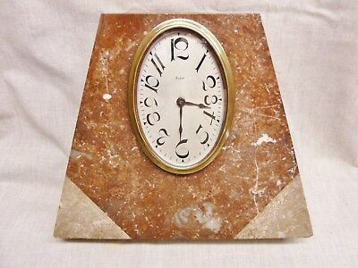 fantastic art deco marble clock red +grey marble 8 day french clock jazz age 30s