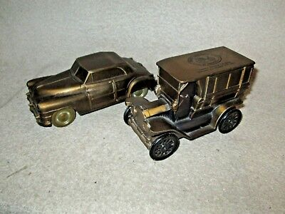 2 Heavy Metal Coin Banks, 1946 Chrysler & 1915 Ford Replicas