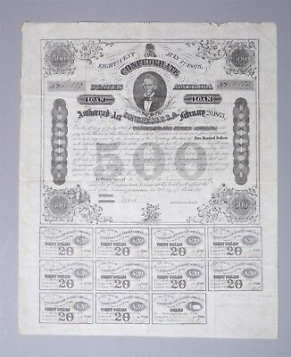 Estate Found Civil War Confederate States $500 Bond Certificate Complete