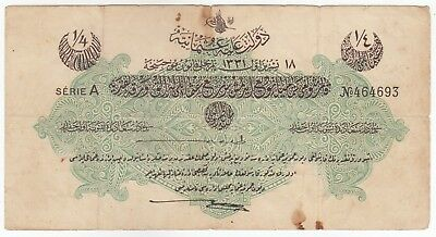 Turkey-Ottoman Empire 1/4 Livre Law of 18 Oct 1915 Issue Banknote Pick: 71 In XF