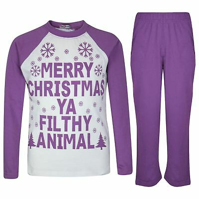 Kids Girls PJS Designer's Ya Filthy Animal Lilac Christmas Pyjamas Age 2-13 Year