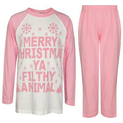 Kids Girls PJS Designer's Ya Filthy Animal Baby Pink Christmas Pyjamas 2-13 Year