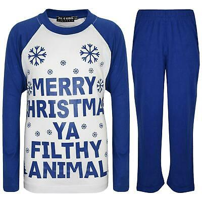 Kids Boys Girls PJS Designer Ya Filthy Animal Royal Blue Christmas Pyjamas 2-13Y