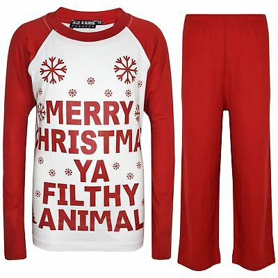 Kids Boys Girls PJS Designer's Ya Filthy Animal Red Christmas Pyjamas 2-13 Years