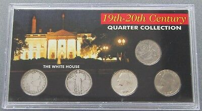 19th-20th Century Quarter Collection, Barber, Standing Liberty SSCA Mint 5 Coins