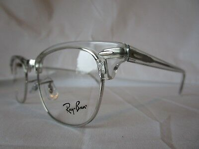 Ray Ban Eyeglass Frame Clubmaster Rx5154 2001 Clear Silver 49 Mm New    Authentic ad431f34fed6