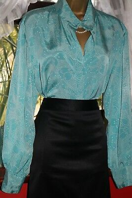 Ladies Turquoise Shimmery Concealed Buttons Long Sleeves Governess Blouse s18