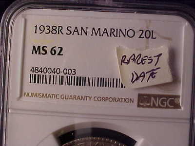 San. Marino 20 Lire 1938 Ngc Ms 62 The Rarest Date And Genuine