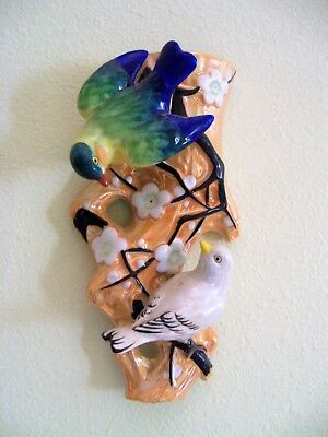 """Large Gold Luster With 2 Birds And Flowers Wall Pocket  9"""""""