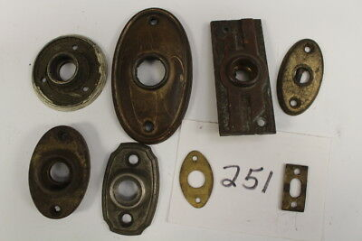 #251 – Lot of 8 Misc Sizes & Styles Escutcheons / Door Knob Back Plates, 19th C.