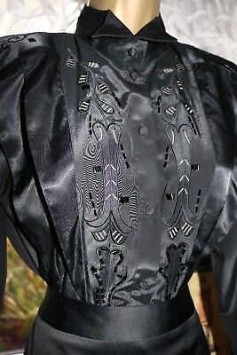 Vtg Glam Salutti Black Glossy Beaded Pleated Embroideries Semi Sheer Blouse s12