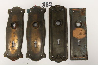 #380 – Lot of 4 Door Knob Back Plates / Escutcheons, 19th C.