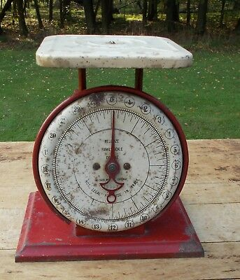 Vintage Columbia Pelouze Deluxe Table Top Scale Old Red & White Paint