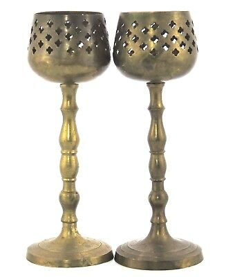 """Vintage Antique Brass Candle Stick Holders Pair 9"""" tall Etched Base Cut Outs Top"""