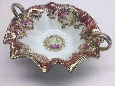 Vintage Noritake Nippon Hand Painted Porcelain Dish With Roses And Gold Tone