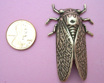 Vintage Design Antique Copper Plated Brass Cicada Stamping - 1 Pc