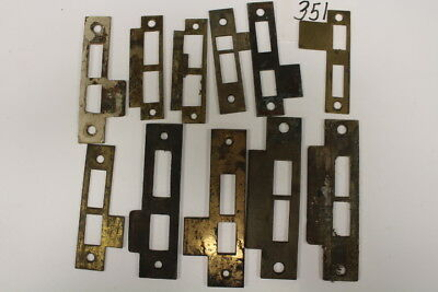 #351 – Lot of 11 Door Jamb Strike Plates of Various Sizes & Styles, 19th C.
