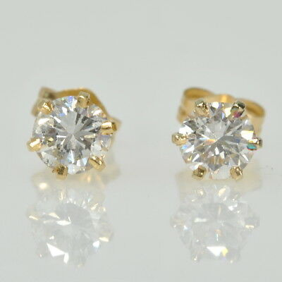 14k Yellow Gold 3/4Cttw Round Brilliant Six Prong Stud Stick Estate Earrings