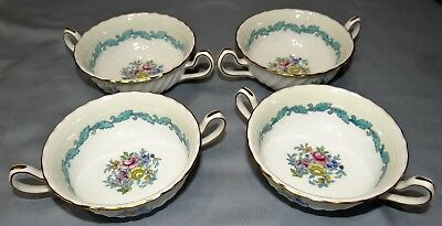 Set of 4 Minton ARDMORE Ivory & Turquoise Cream Soup Bowls w/ Handles Fine China