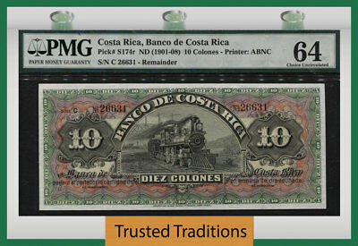 """TT PK S174r ND (1901-08) COSTA RICA 10 COLONES """"117 YRS OLD"""" PMG 64 CHOICE UNC!"""