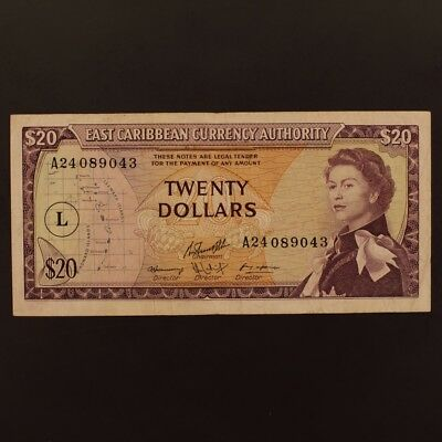 East Caribbean States 20 Dollars ND(1965) P#15l Banknote VF+