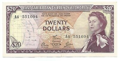 East Caribbean States 20 Dollars ND(1965) P#15e Banknote VF+