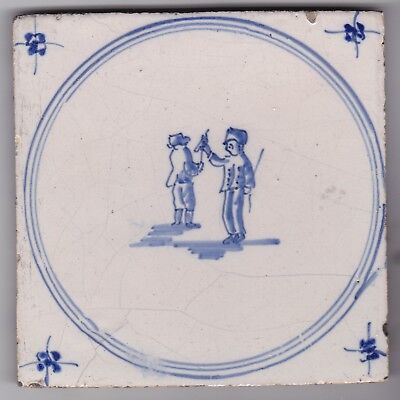 Delft Tile c. 18th / 19th century   (D 8)      Children playing