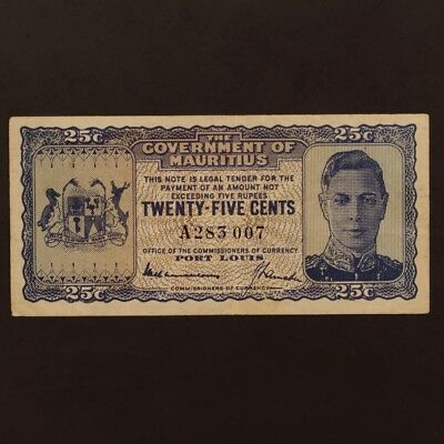 Mauritius 25 Cents ND(1940) P#24a Banknote ChVF