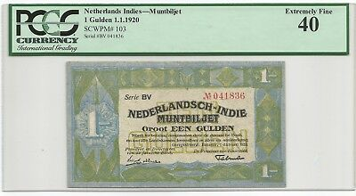 Netherlands Indies Gulden 1.1.1920 P#103 Banknote PCGS 40 - Extremely Fine