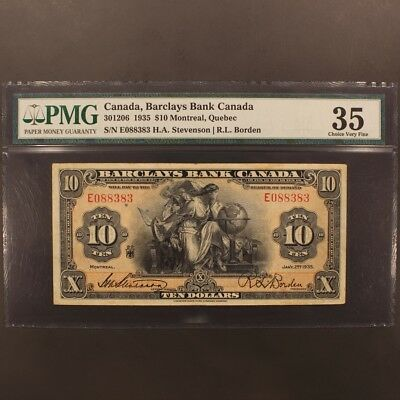 Canada - Barclays Bank 10 Dollars 1935 CH#30-12-06 - P#S948c Banknote PMG 35