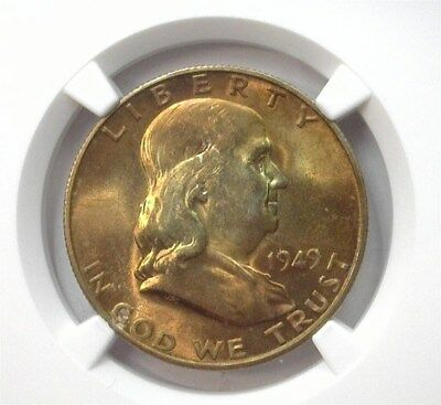 1949-S Franklin Silver 50 Cents Ngc Ms64 Looks 66! Lists For $80!