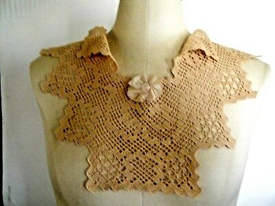 Antique Victorian Collar Hand Crocheted Lace Deco style  large piece  beauty.