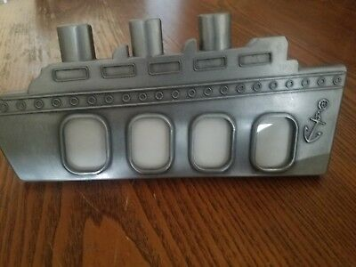 "Pewter Boat Ship Picture Frame 4- 1""x2"" Wallet Tiny Pictures - Freestanding"